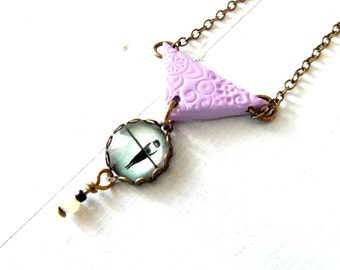 Geometric necklace, lavender Triangle necklace, bird on a wire pendant , Boho necklace