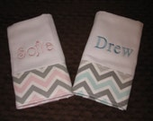 Burp Cloth Chevron  Monogrammed   Personalized Baby Gift  Twins Pink or Blue Mist  Gray