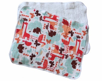 Safari Flannel and Terrycloth Burp Rags, Ready to Ship