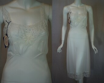 1950s White Full Slip, 34, Medium, Melody Lane, Nylon with Lace, NOS