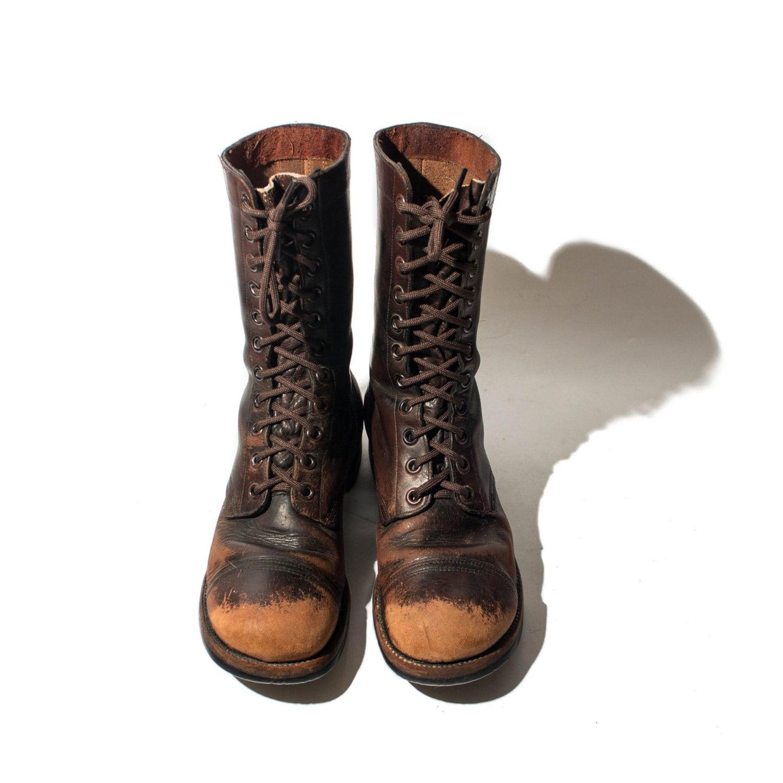 1940 s brown combat boots cap toed jump boots