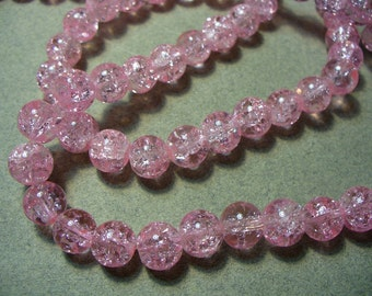 Crackle Glass Beads Pink 8mm