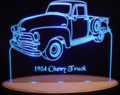 "1954 Chevy Pickup Truck Acrylic Lighted Edge Lit LED Sign 13"" 54 VVD1 Full Size Made in the USA"