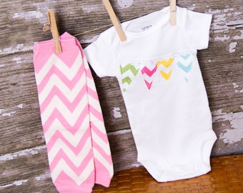 50% off!!! SALE!!Chevron Banner Bodysuit  with Matching Chevron leg warmers sizes newborn to 24 month Bodysuit or shirt size 2 4 or 6
