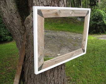 SOLD -Custom made for Vjosa Handcrafted Large Rustic Barnwood Mirror White Trim no.1405