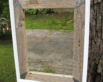 SOLD -Custom made for Mary - Handcrafted Medium Rustic Barnwood Mirror White Trim no.1407