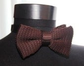 Brown Bow Tie Men Knitted Bow Tie, PreTied Bow Tie,Wedding Bow Ties for Men, Vintage Knitting Bowtie