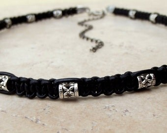 Black Leather Tribal Necklace:  Antiqued Silver Bohemian Macrame Cord Men's Choker Necklace, Unisex Jewelry
