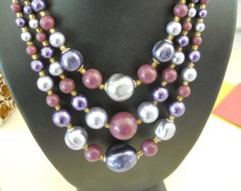 Triple Layer of Varigated Plum Colored Big Beads