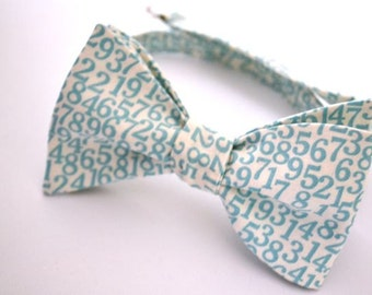 Self Tie Bow Tie- Aqua- Numbers Print-  Adjustable- Remove with Bow In Tact
