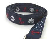 Nautical Dog Leash  - Anchors and Ships Wheels with Navy Swiss Dots