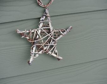Rustic Christmas Star Ornament, Twig Star Ornament