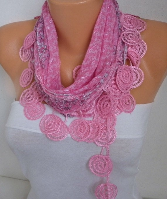 ON SALE - Pink  Scarf  - Cotton  Scarf -  Cowl Scarf with Lace Edge   - fatwoman bridesmaid gift