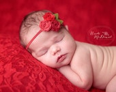 Felt Flower Headband - A Bouquet of Roses in Shades of Red  - Newborn  Baby to Adult