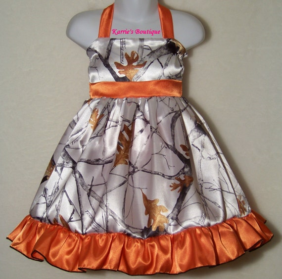 Camo flower girl dress snow camo orange satin pageant for Orange and camo wedding dress