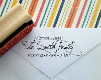 Funky Calligraphy Return Address Stamp