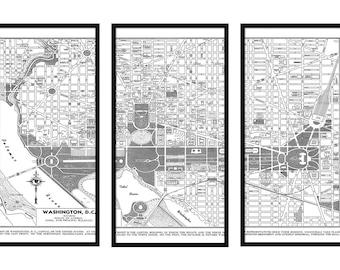 Washington DC Map - Street Triptych Map Vintage 20x30 Print Poster