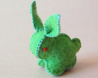 Green Felted BUNNY Rabbit Toy -- Handmade pure wool felt -- Unique soft animal sculpture