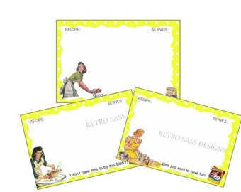 3 RETRO inspired recipe cards sassy saying YELLOW polka dot bk cool for a cookbook project girls night out favors