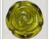 SALE! Carved Glass Rose Flower Pendant - Olive