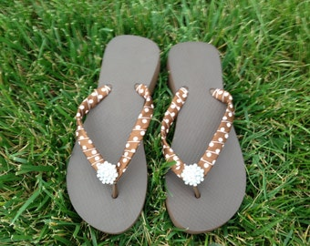 "Brown 1.5"" Brazilian Made 100% Rubber Flip Flops w/Wrapped Sides and Completed with Rhinestone Embellishment"