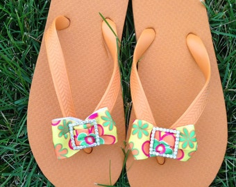 Orange Flip Flops w/Multiple Colored Bow with Square  Rhinestone Slider