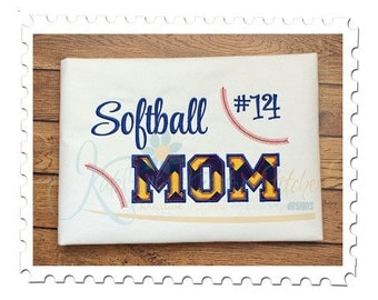 Softball MOM 2 - Applique and Filled