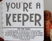 You're A Keeper Love Card - Valentines Card, Awkward Dating, Date-iversary, Anniversary