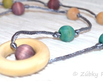 Beaded Teething Necklace by Zúbky for Nursing Breastfeeding Babywearing Mamas - Pretty Blue Purple Hues