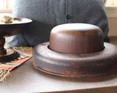 VINTAGE Wooden Man's Hat Mold #3- 2 piece SOLID WOOD industrial accessory