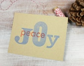 6 Letterpress Holiday Christmas Flat Note Cards // JOY and Peace in red and blue