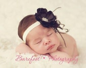 Baby Girl Headbands..Black Flower Headband..Newborn headband..Black and Ivory Flower Headband..Headband with Feathers..Infant Baby Girl.