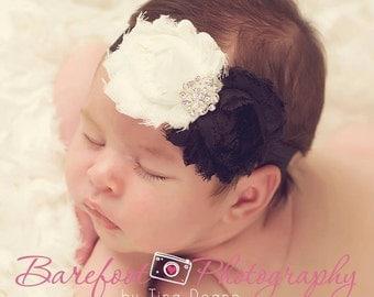 Baby Headband..Baby Girl ivory and black Headband..Ivory black headband..fabric headband..ivory headband..black headband..toddler headband