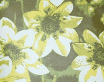 Retro Wallpaper by the Yard 70s Vintage Wallpaper - 1970s Large Chartreuse Green Tropical Flowers on Dark Green with White and Yellow