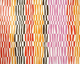 Retro Wallpaper by the Yard 70s Vintage Wallpaper - 1970s Red Orange Pink and Brown Geometric Stripes
