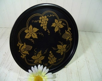 Vintage Grapes & Leaves Hand Painted in Gold Over Black Enamel Metal Tray - Retro Round Tin Plate - Mid Century Entertaining Beverage Server