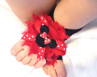 Minnie Mouse Barefoot baby sandals - Red