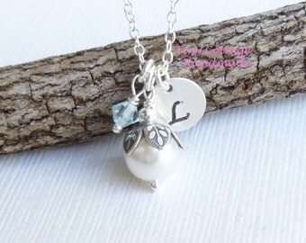 SALE -- Pearl with Vintage Petals Necklace.... Sterling Silver Chain... Choose Your Stone and Initial... Fall Bridesmaids