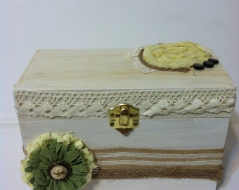 Country Chic Urban Chic Photo or Recipe Box CUSTOMIZE For free with Name Chalkboard Lid Natrual colors