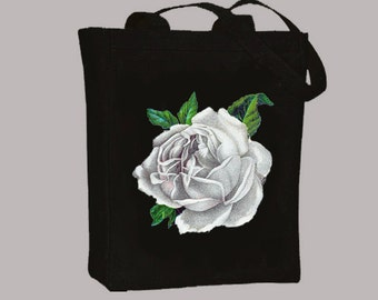 Vintage White Rose Illustration transferred onto Black or Natural CanvasTote with Shoulder strap - Selection of sizes available
