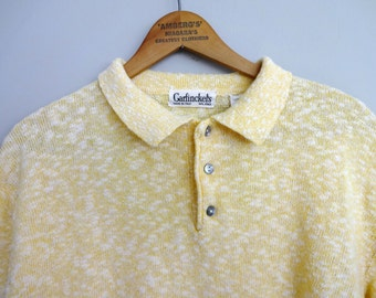 60's Garfinckel's nubby cotton knit Pullover Polo shirt made in Italy Large
