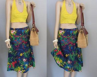 70s High waisted Blue botanical floral midi Skirt Waist 28-32