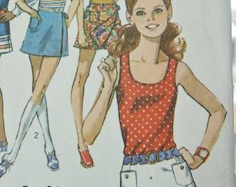 Vintage 70's Hippie Era Boho Summer Mini Scooter Skirt Pantskirt and Sleeveless Tank Tunic Top Sewing Pattern 9332  Size Junior 9/10