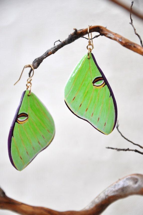 Luna Moth Wings Earrings - Carved Walnut Hardwood & Hand Painted - 14 Karat Gold Filled Findings