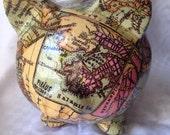 "Old World Map Decoupage Ceramic Piggy Bank - ""Magellan"""