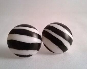 Zebra Stripe Stud Earrings