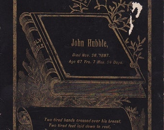 Victorian funeral card for John Hubble died at the ripe old age of 67 in 1897