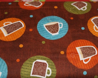 Circle Coffee AVQ 1293416 Brown for Robert Kaufman Coffee Cups Quilt Fabric Apparel Fabric Craft Fabric 100% Cotton PRICES VARY by Size