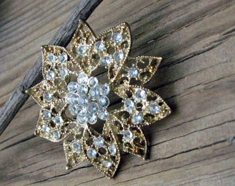Vintage Lacey Gold and Rhinestone Flower or Snowflake with Tons of  Clear Rhinestones