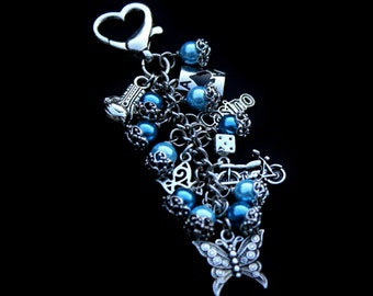 Book Theme - Purse Jewelry - Zipper Pull - Purse Charm - Keychain - Bag Charm - Butterfly - Fighter - Gambling - Motorcycle - Swag